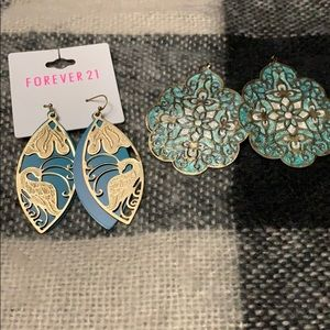 Set of turquoise colored earrings